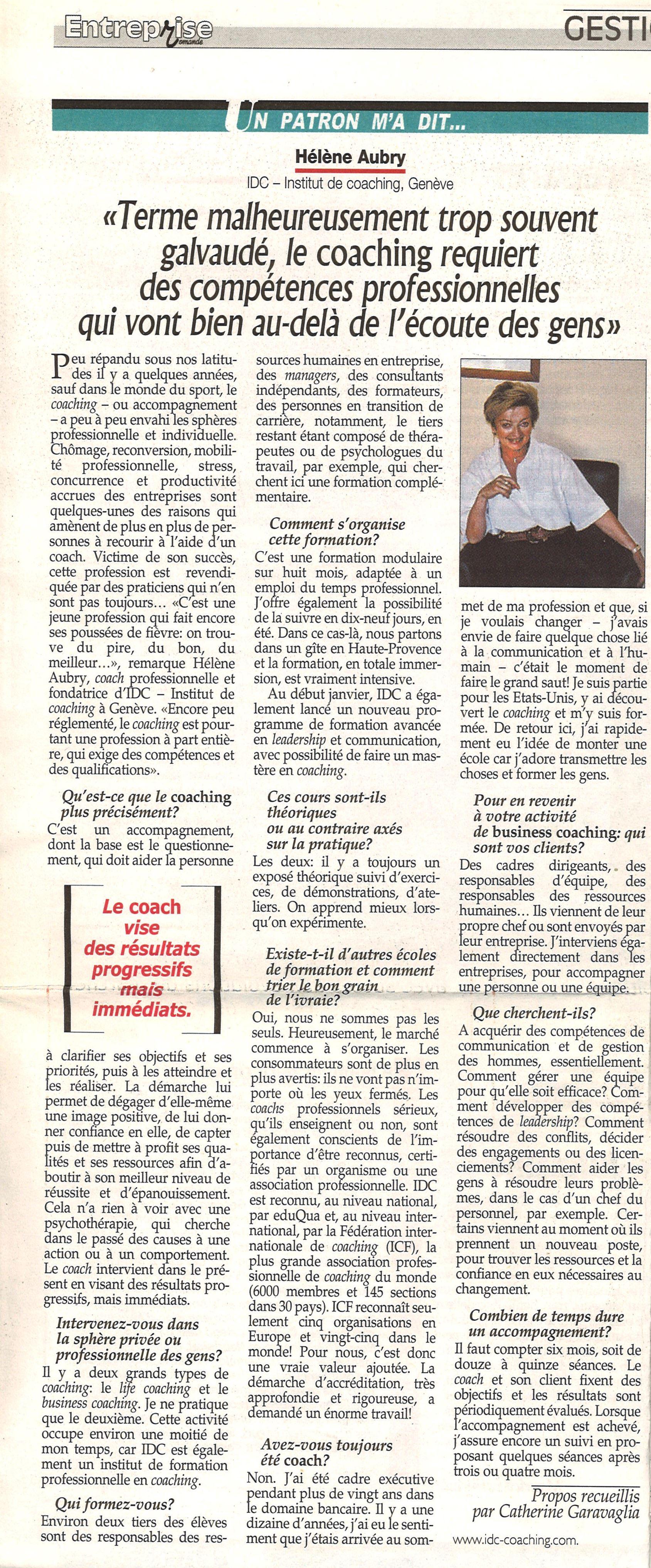 REVUE ENTREPRISE-Un patron m'a dit...-01.2005